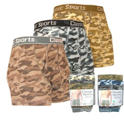 Classic Sports Camoflauge Boxer Shorts Size Small 6 Pack Men/'s